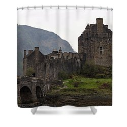 Cartoon - Structure Of The Eilean Donan Castle With A Stone Bridge Shower Curtain
