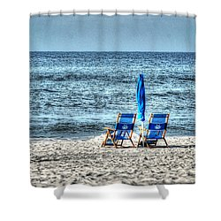 2 Chairs And Umbrella Shower Curtain by Michael Thomas