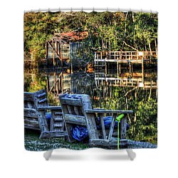 2 Chairs On The Magnolia River Shower Curtain