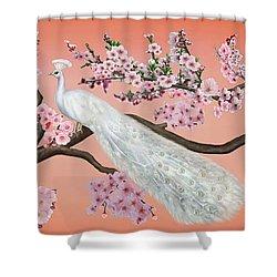 Cherry Blossom Peacock Shower Curtain