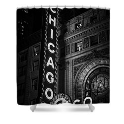 Chicago Theatre Sign In Black And White Shower Curtain