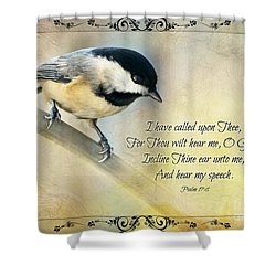 Chickadee With Verse Shower Curtain