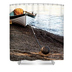 China Beach Rowboat Shower Curtain