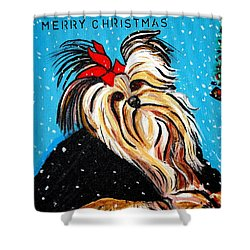 Shower Curtain featuring the painting Christmas Card by Nora Shepley