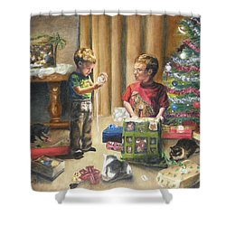 Shower Curtain featuring the painting Christmas Time by Lori Brackett