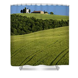 Church In The Field Shower Curtain by Brian Jannsen