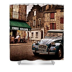 Shower Curtain featuring the photograph Citroen 2cv In French Village / Meyssac by Barry O Carroll