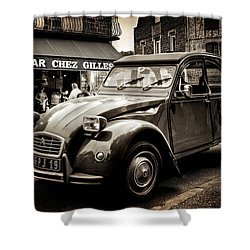 Shower Curtain featuring the photograph Citroen 2cv / Meyssac by Barry O Carroll