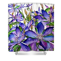 Clematis Climbing Vine Shower Curtain by Janet Immordino