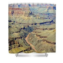 Colorado River Flowing Red Through Inner Gorge Grand Canyon National Park Shower Curtain by Shawn O'Brien