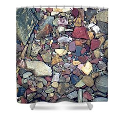 Colorful Lake Rocks Shower Curtain by Kerri Mortenson