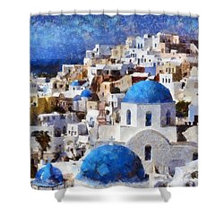 Colorful Oia In Santorini Island Shower Curtain