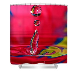 Colorful Water Drop Shower Curtain by Peter Lakomy