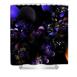 Computer Generated Spheres Abstract Fractal Flame Shower Curtain by Keith Webber Jr