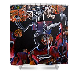 Shower Curtain featuring the painting Copernicasso by Ryan Demaree