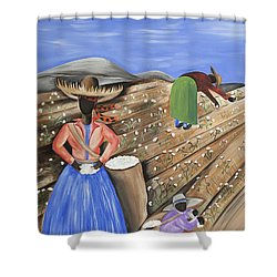 Cotton Pickin' Cotton Shower Curtain by Patricia Sabree