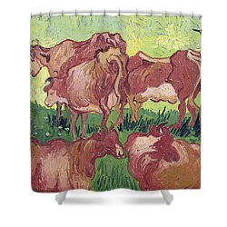 Cows Shower Curtain by Vincent Van Gogh