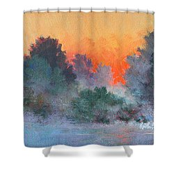 Dawn Mist Shower Curtain by Keith Burgess