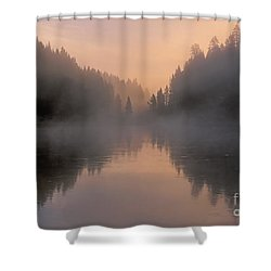 Dawn On The Yellowstone River Shower Curtain by Sandra Bronstein