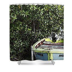 Shower Curtain featuring the photograph Docked By The Mangrove Trees by Lilliana Mendez