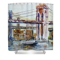 Shower Curtain featuring the painting Downtown Bridge by Xueling Zou