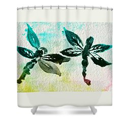 Shower Curtain featuring the digital art 2 Dragonflies Abstract by Frank Bright