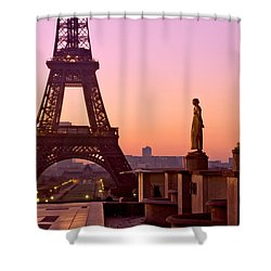 Shower Curtain featuring the photograph Eiffel Tower At Dawn / Paris by Barry O Carroll