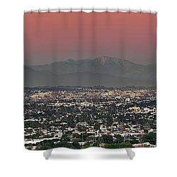 Elevated View Of Buildings In City Shower Curtain