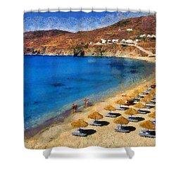 Elia Beach In Mykonos Island Shower Curtain