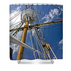 Shower Curtain featuring the photograph Elizabeth II Mast Rigging by Greg Reed
