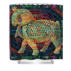 Ethnic Woodcraft Horse Decorated Toy Game Gems Jewels Special Occasion Background Designs  And Color Shower Curtain