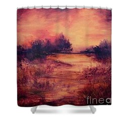 Evening Amber Shower Curtain by Glory Wood