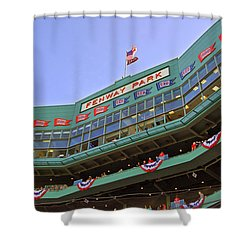 Fenway's 100th Shower Curtain by Joann Vitali