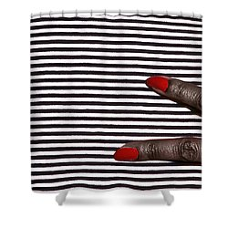 2 Fingers On Black And White Shower Curtain by Kellice Swaggerty