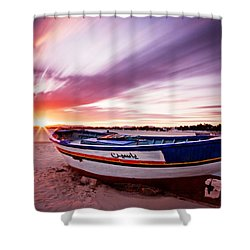 Shower Curtain featuring the photograph Fishing Boat At Sunset / Tunisia by Barry O Carroll