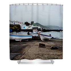 Fishing Boats On Wharf With View Of Houses  Shower Curtain