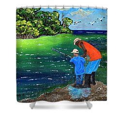 Fishing Buddies Shower Curtain by Laura Forde