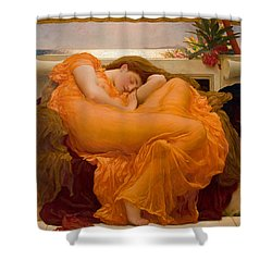 Shower Curtain featuring the painting Flaming June by Frederick Leighton
