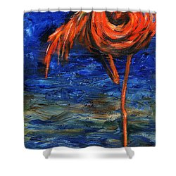 Shower Curtain featuring the painting Flamingo by Xueling Zou