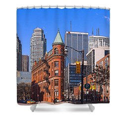 Flatiron Building In Toronto Shower Curtain by Les Palenik