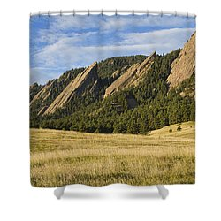 Flatirons With Golden Grass Boulder Colorado Shower Curtain
