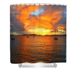 Frank Bay St. John U. S. Virgin Islands Sunset Shower Curtain