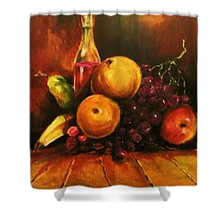 Fruit And Wine Shower Curtain by Al Brown