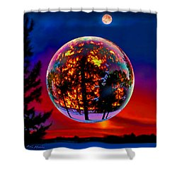 Full Moon Over New Richmond Sunset Shower Curtain