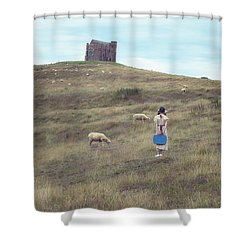 Girl With Sheeps Shower Curtain by Joana Kruse