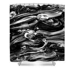 Glass Macro - Black And White Shower Curtain by David Patterson