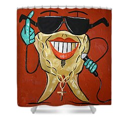 Gold Tooth Shower Curtain by Anthony Falbo