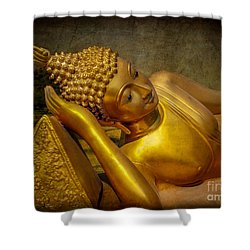Golden Buddha Shower Curtain by Adrian Evans