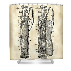 Golf Bag Patent 1905 - Vintage Shower Curtain by Stephen Younts