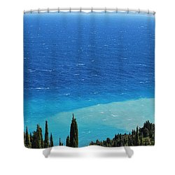 green and blue Erikousa Shower Curtain
